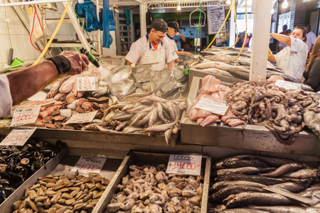 SANTIAGO, CHILE - MARCH 28, 2015: Fresh fish and seafood on Mercado Central market in the center of Santiago, Chile