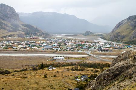 cerro chalten: Aerial view of El Chalten village, Argentina Stock Photo