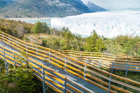 moreno: Touristic boardwalks near Perito Moreno glacier in National Park Glaciares, Argentina Stock Photo