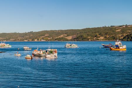 DALCAHUE, CHILE - MARCH 21, 2015: Fishing boats in Dalcahue village, Chiloe island, Chile Editorial