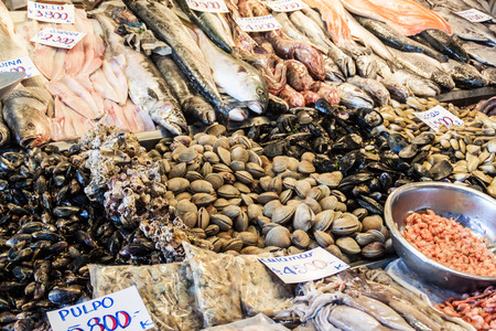 Fresh fish and seafood on Mercado Central market in the center of Santiago, Chile