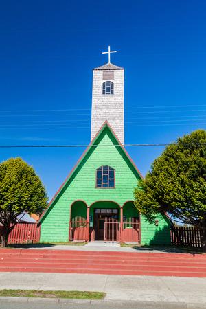 woodcraft: Wooden church, Curaco de Velez village, Isla Quinchao island, Chile Stock Photo