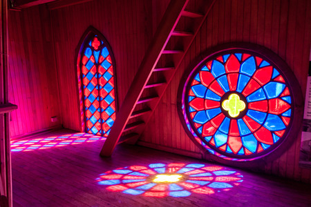 woodcraft: Interior of a church in former convent Inmaculada Concepcion in Ancud, Chiloe island, Chile.
