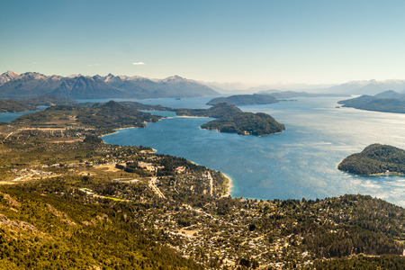 Aerial view of Nahuel Huapi lake near Bariloche, Argentina Stock Photo