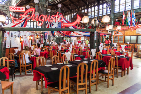mercado central: SANTIAGO, CHILE - MARCH 28, 2015: Seafood restaurant on Mercado Central market in the center of Santiago, Chile