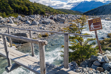 Wooden bridge on a trekking trail in National Park Los Glaciares, Patagonia, Argentina
