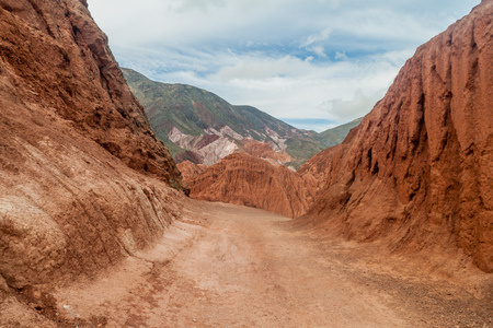 stratification: Colorful rock formations near Purmamarca village (Quebrada de Humahuaca valley), Argentina