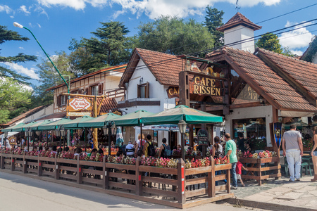 VILLA GENERAL BELGRANO, ARGENTINA - APR 3, 2015: Restaurant in Villa General Belgrano, Argentina. Village now serves as a Germany styled tourist sttraction. Stock Photo