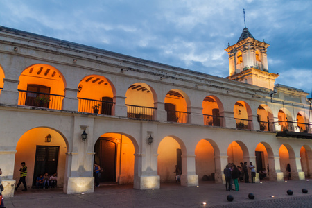 SALTA, ARGENTINA - APRIL 8, 2015: Building of the former town council (cabildo) on Plaza 9 de Julio square in Salta, Argentina. Editorial