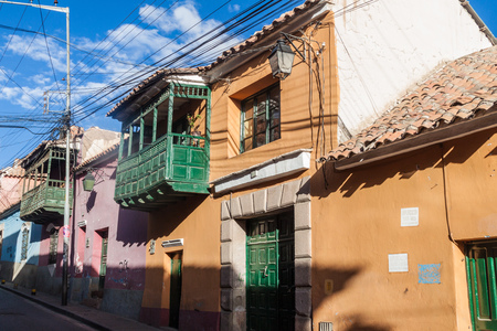 bolivian: View of traditional houses in a historic center of Potosi, Bolivia. Stock Photo