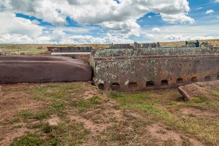 Pumapunku, Pre-Columbian archaeological site, Bolivia Stock Photo