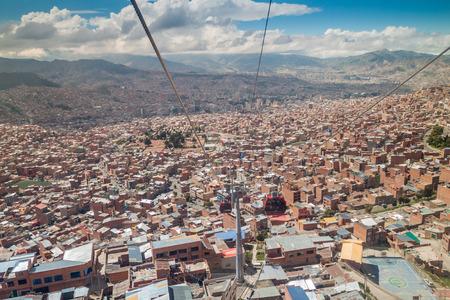 la paz: Aerial view of La Paz with Teleferico (Cable car), Bolivia