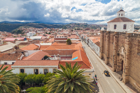 convento: Aerial view of Sucre, capital of Bolivia. Convento de San Felipe Neri on the right side.