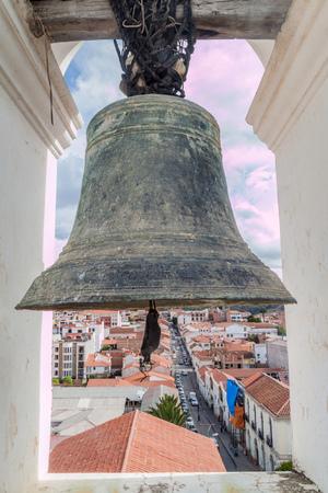 merced: Bell of Templo Nuestra Senora de la Merced church in Sucre, capital of Bolivia. Stock Photo