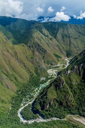 urubamba valley: Aerial view of Urubamba valley (with hydroelectric station) from Machu Picchu ruins, Peru Stock Photo