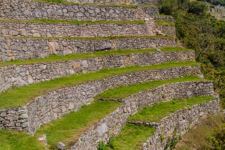 Former agricultural terraces at Machu Picchu ruins, Peru. Stock Photo