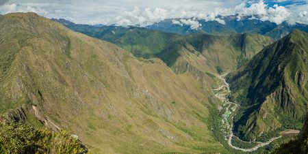 hydroelectric: Aerial view of Urubamba valley (with hydroelectric station) from Machu Picchu mountain, Peru Stock Photo