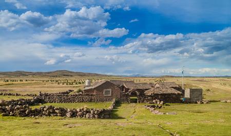 adobe wall: Small rural settlement near Titicaca lake, Puno