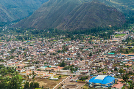 sacred valley: Aerial view of Urubamba in Sacred Valley, Peru Editorial