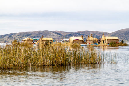 navigable: One of Uros floating islands, Titicaca lake, Peru