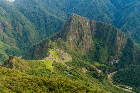 Aerial view of Machu Picchu ruins from Machu Picchu mountain, Peru