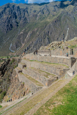 pisac: OLLANTAYTAMBO, PERU - MAY 20, 2015: Inca ruins near Ollantaytambo, Sacred Valley of Incas, Peru Editorial