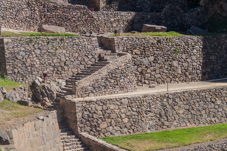 inca ruins: Agricultural terraces of Inca ruins of Ollantaytambo, Sacred Valley of Incas, Peru Stock Photo