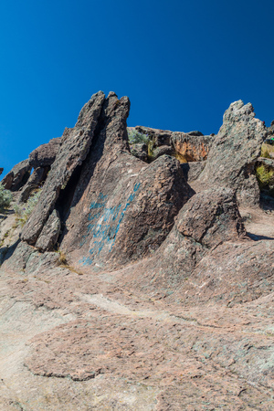 astronomical: Rugged rocks at Horca del Inca, ancient astronomical observatory in Copacabana, Bolivia.