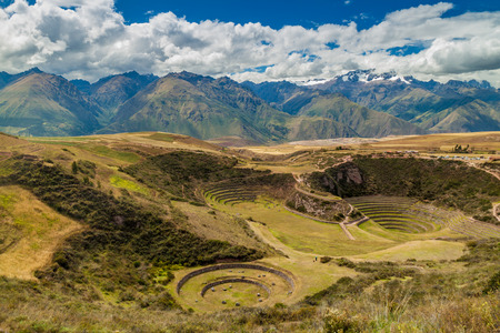 climatic: Round agricultural terraces Moray made by Inca empire, Peru
