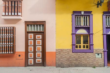 Colorful colonial houses in Lourdes lane in Loja, Ecuador Stock Photo