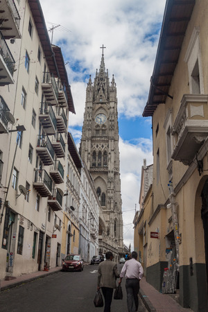 vow: QUITO, ECUADOR - JUNE 24, 2015: Tower of Basilica of the National Vow in Quito