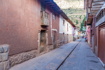 pisac: PISAC, PERU - MAY 22, 2015: Street in Pisac village, Sacred Valley of Incas, Peru.