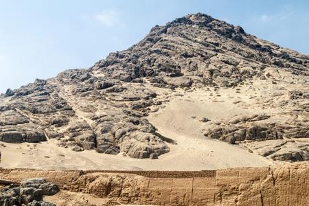 LUNA: Archeological site Huaca del Sol y de la Luna (Temple of the Sun and the Moon) in Trujillo, Peru. Site was built in Moche period.
