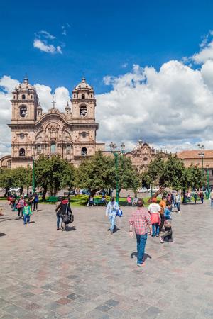 la compania: CUZCO, PERU - MAY 23, 2015:  La Compania de Jesus church on Plaza de Armas square in Cuzco, Peru.
