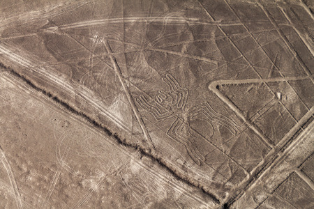 Aerial view of geoglyphs near Nazca - famous Nazca Lines, Peru. In the center, Spider figure is present.