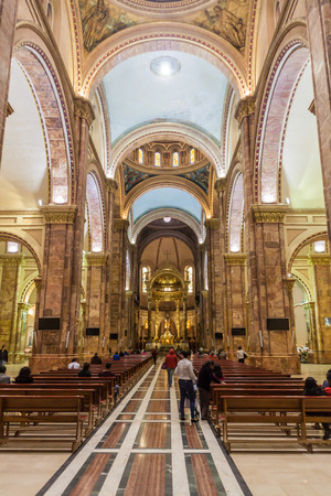 worship service: CUENCA, ECUADOR - JUNE 16, 2015: Interior of New Cathedral (Catedral de la Inmaculada Concepcion), Cuenca, Ecuador