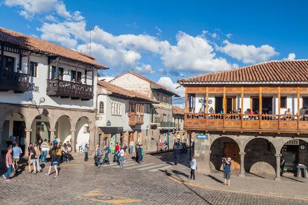 CUZCO, PERU - MAY 23, 2015: Colonial houses at Plaza de Armas square in Cuzco, Peru.