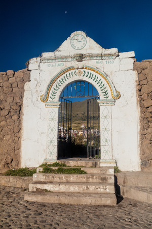 Gate to the cemetery in Cabanaconde, Peru