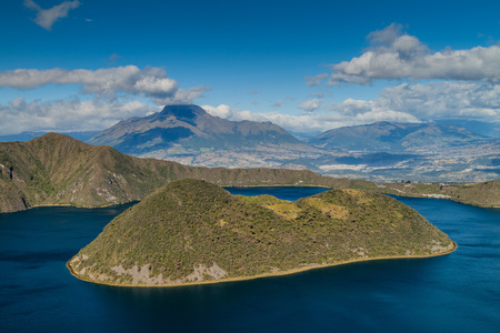 Volcanic crater lake Laguna Cuicocha in Ecuador Stock Photo