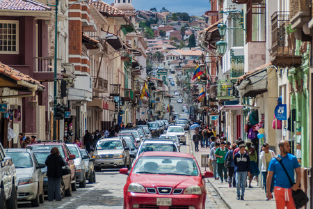 CUENCA, ECUADOR - JUNE 19, 2015: Street with old colonial buildings in the center of Cuenca, Ecuador
