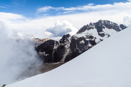 cordillera: View of Cordillera Real mountain range from high camp of climbers under Huayna Potosi mountain in Bolivia