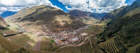 sacred valley of the incas: Aerial view of Sacred Valley of Incas and Pisac village, Peru Stock Photo