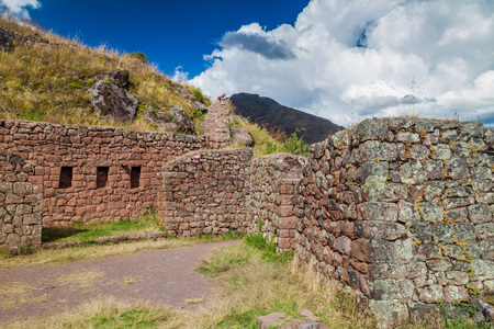 sacred valley of the incas: Ancient Incas ruins near Pisac village, Sacred Valley of Incas, Peru Stock Photo