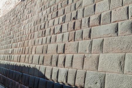 stonework: Detail of Incas perfect stonework in Loreto alley in Cuzco, Peru. Stock Photo