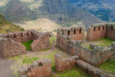 pisac: Ancient Incas ruins near Pisac village, Sacred Valley of Incas, Peru Stock Photo