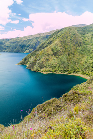 Crater lake Laguna Cuicocha, Ecuador