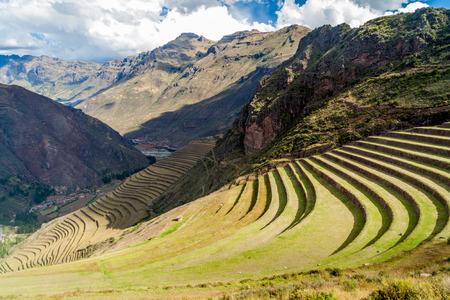 Ancient Inca's agricultural terraces near Pisac village, Peru