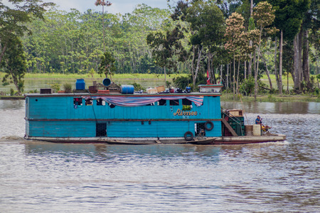 16: NAPO, PERU - JULY 16, 2015: View of boat Aimee on a river Napo.