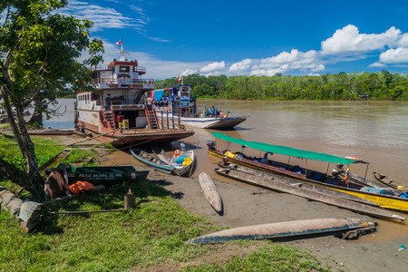 plies: PANTOJA, PERU - JULY 13, 2015: Cargo boat Arabela I plies river Napo, Peru Editorial