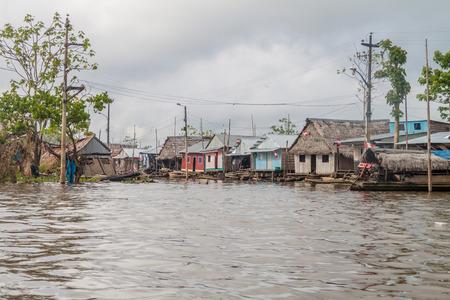 shantytown: View of floating shantytown in Belen neigbohood of Iquitos, Peru. Editorial